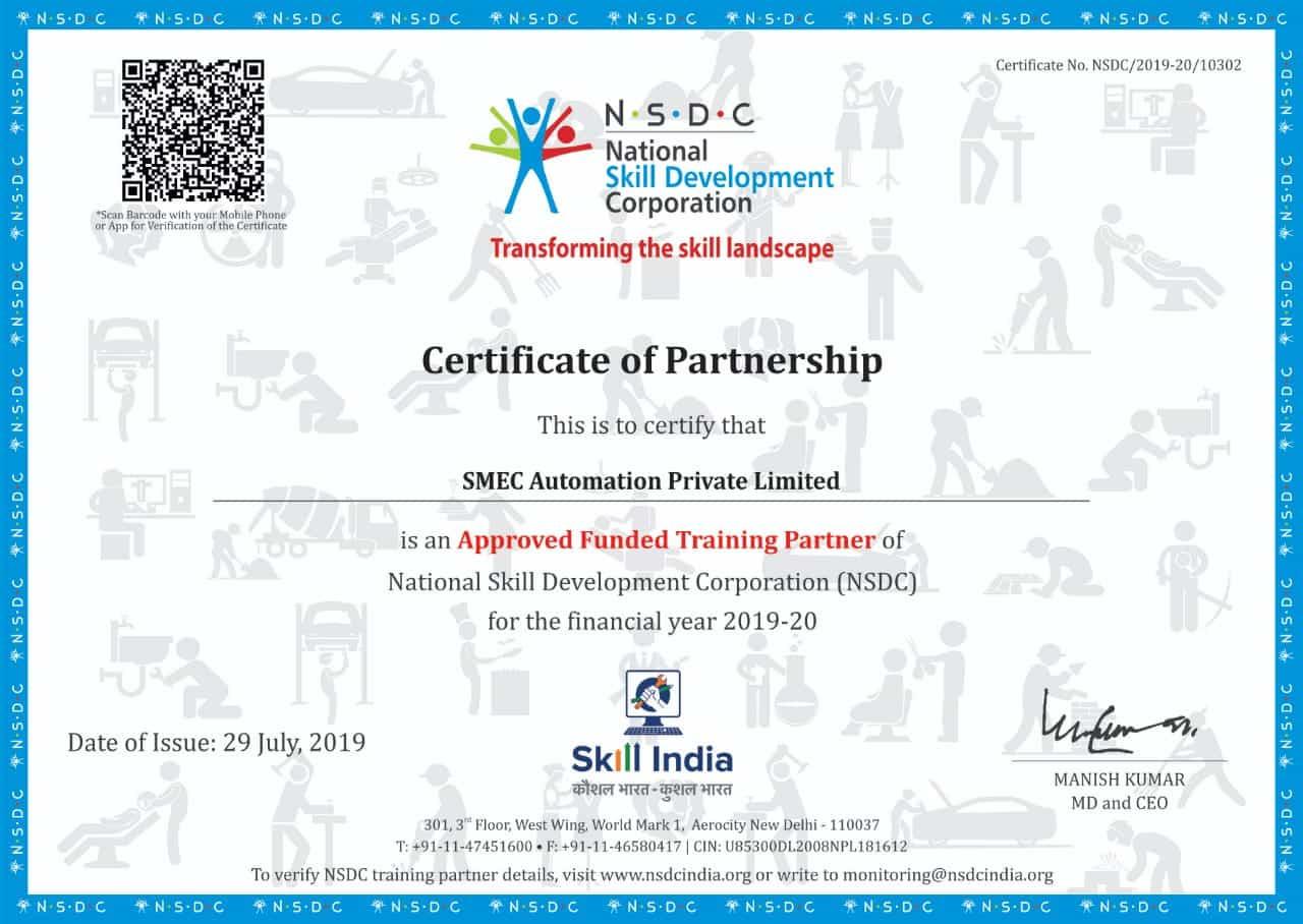 smec automation nsdc partnership certificate