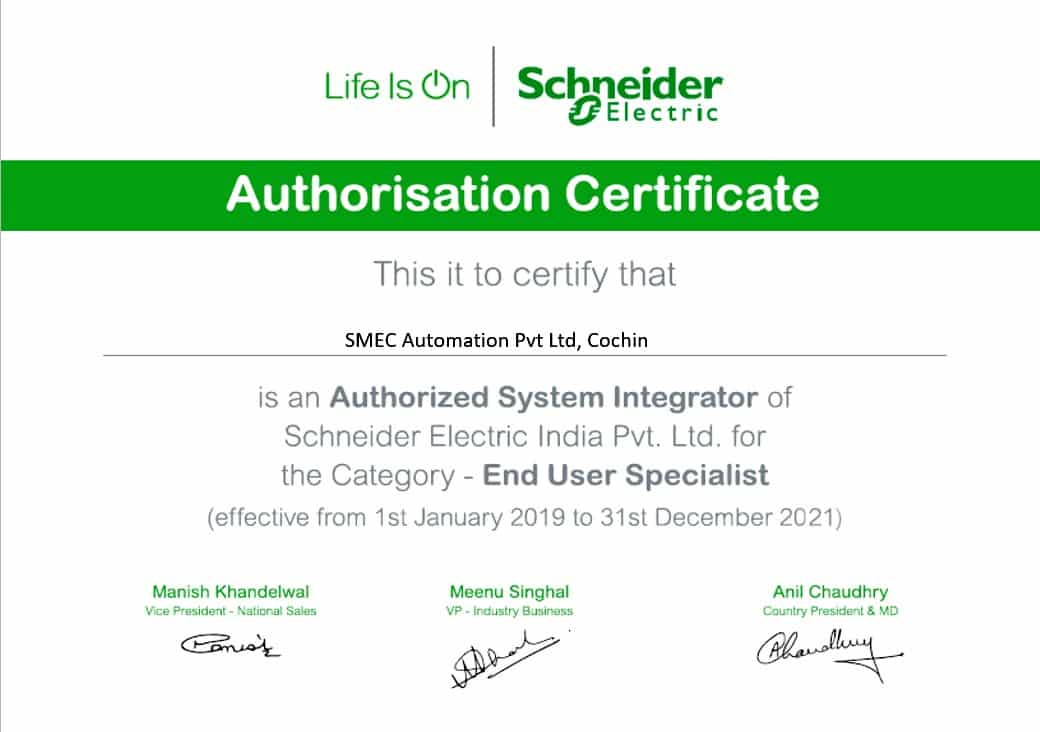 schneider electric authorisation certificate for smec automation